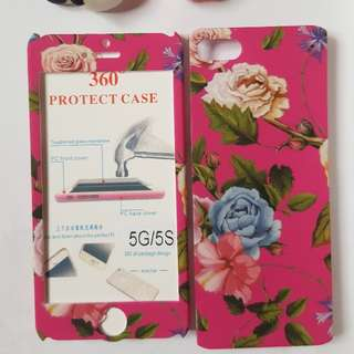 Iphone 5,5s,SE   Floral Case 360 With Tempered Glass