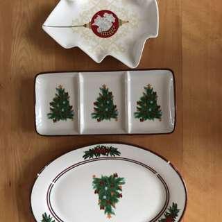 3 X Christmas Platters