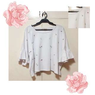 Korean Flower Embroidered Ruffle Blouse