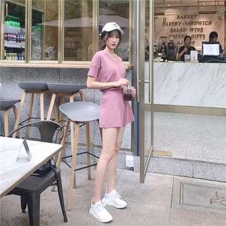 8/6  ᴡ ɪ ɴ 🎀針織短袖V領T+闊腿短褲套裝
