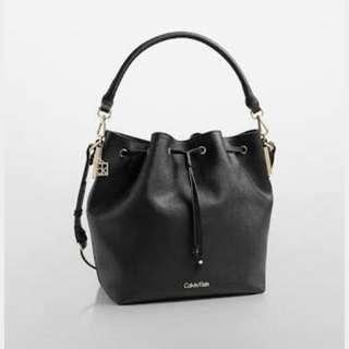 CK Convertible Drawstring Studded Bucket Bag