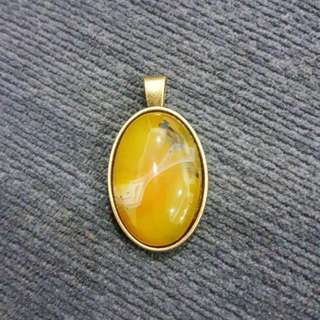 Natural Agate With Brass Pendant