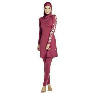 Muslimah Red Velvet Swimwear / Swimsuit [3-Piece]