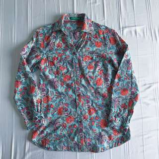 Point One Floral Green Batik Shirt