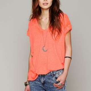 Free People $58 Coral Keep Me Tee
