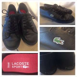 LACOSTE - (Size 5) - Boys Black Leather Running Shoes - Like New