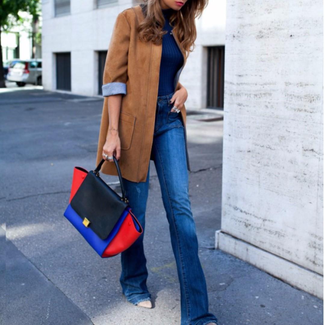 #剛剛好的寬度藍色高腰喇叭褲26