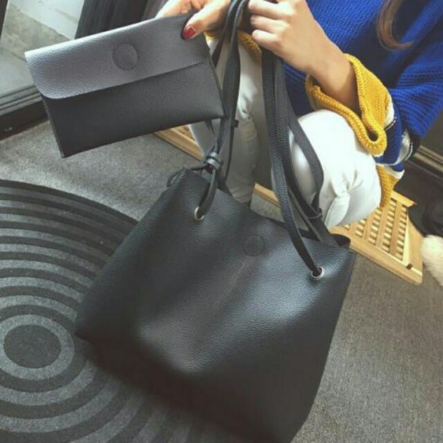 2 Pcs. Korean Black Bag Set
