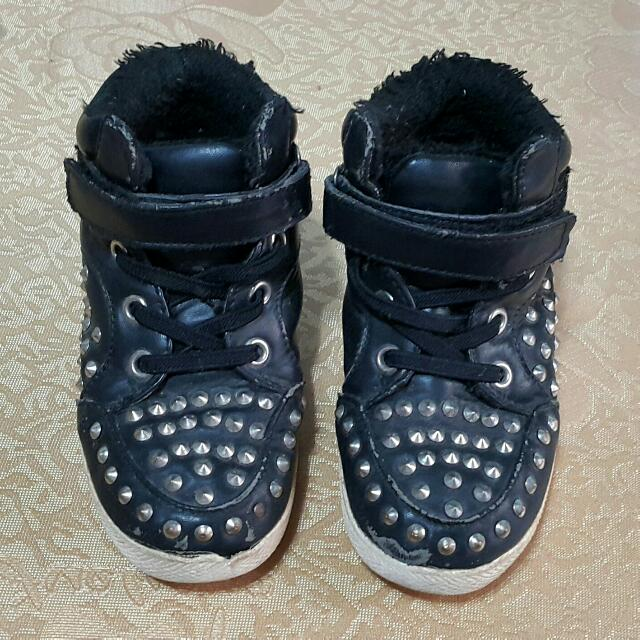 鉚釘高筒鞋男童運動鞋女童球鞋寶寶布鞋休閒鞋