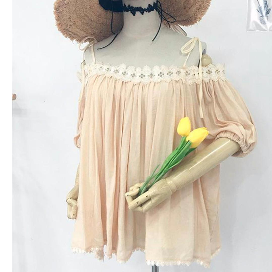 顯瘦百搭拼接花邊吊肩五分袖寬鬆上衣剩黃色