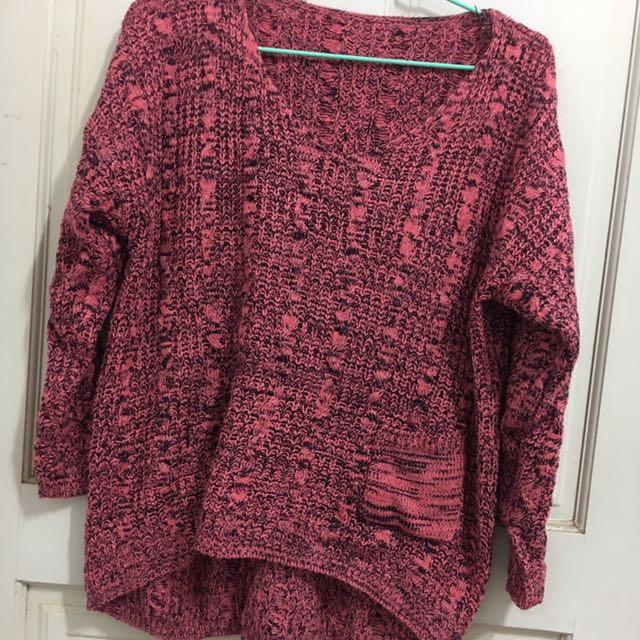 前短後長針織毛衣