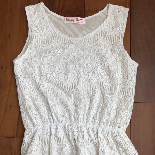 優質韓貨/流蘇裙擺乳白洋裝