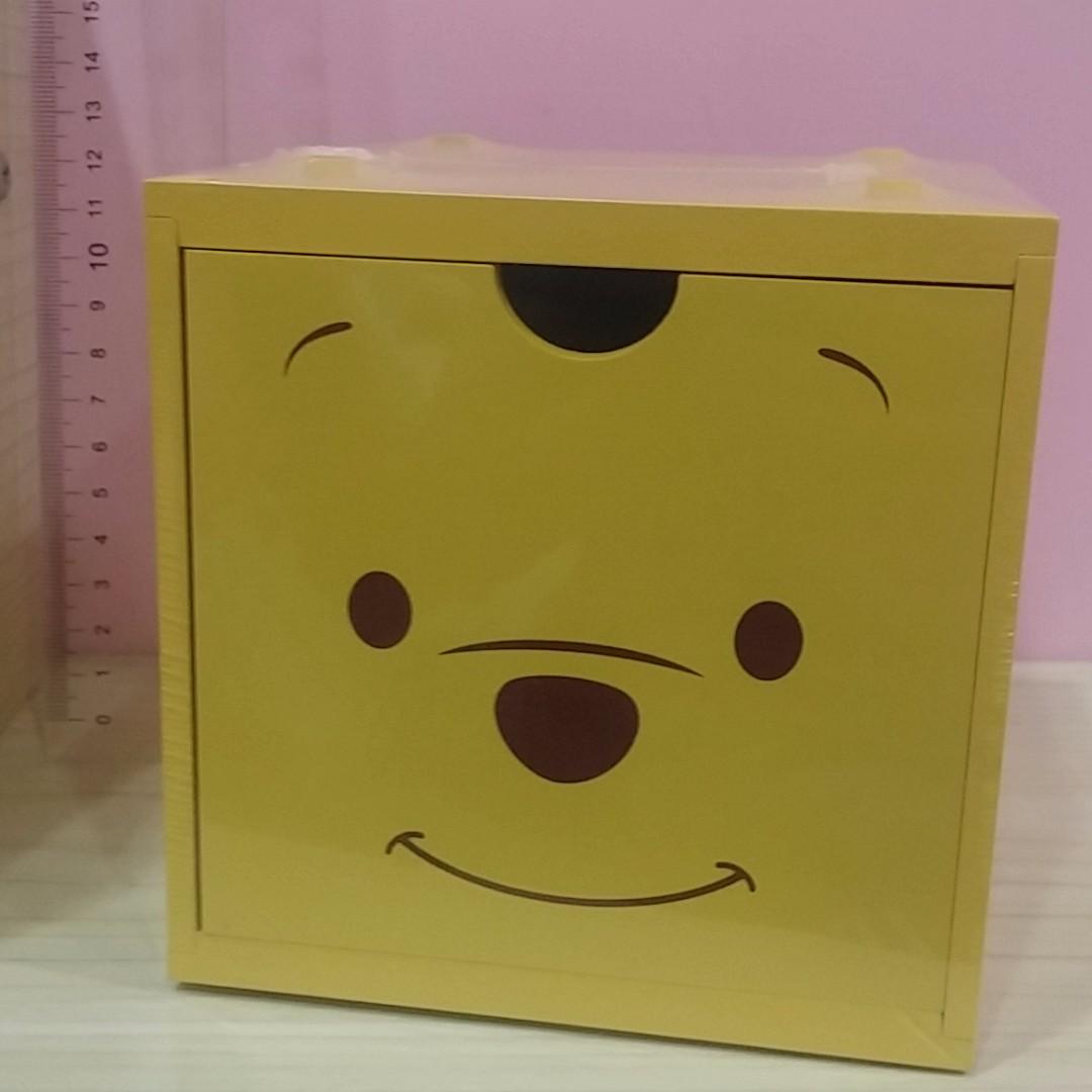 正版台灣製 新款 迪士尼 小熊維尼 積木盒 收納盒 疊疊樂 木頭盒