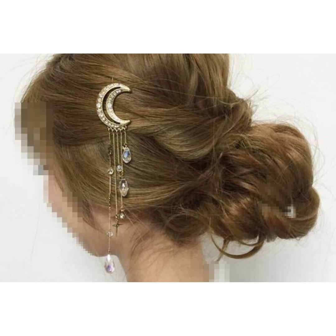 狐狸尾巴*日系飾品 月亮 星星 水晶 寶石 水晶珠 吊墜 髮夾髮飾 金色