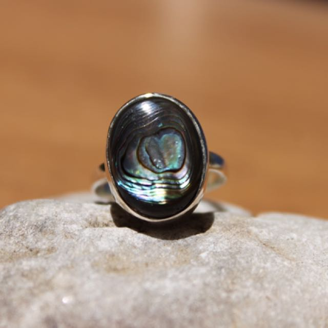 Abalone Ring Size 7 In Sterling Silver .926