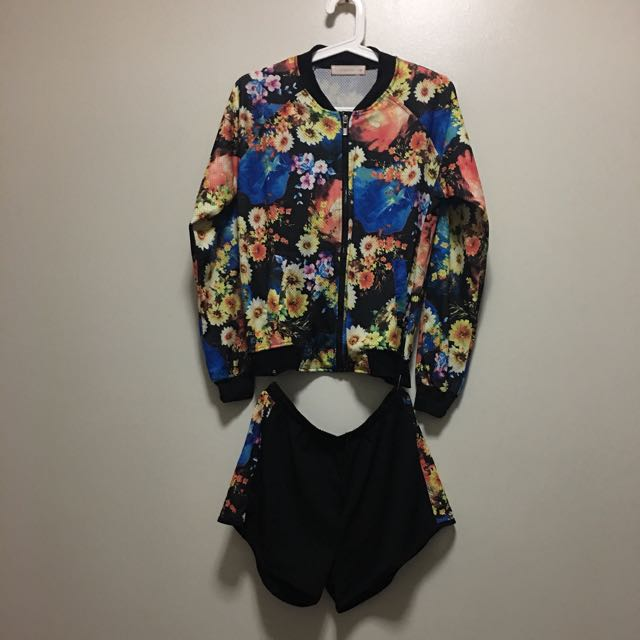 ADIDAS-inspired Track Floral Co-ords (Jacket + shorts)