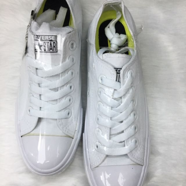 All White Leather Low Cut Converse