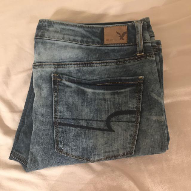 American Eagle High Waisted Tye Dye Blue Jeans