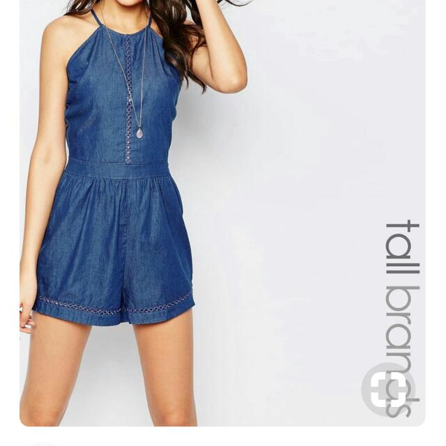 809fd45cc44 ASOS Denim Playsuit Romper w lace  15