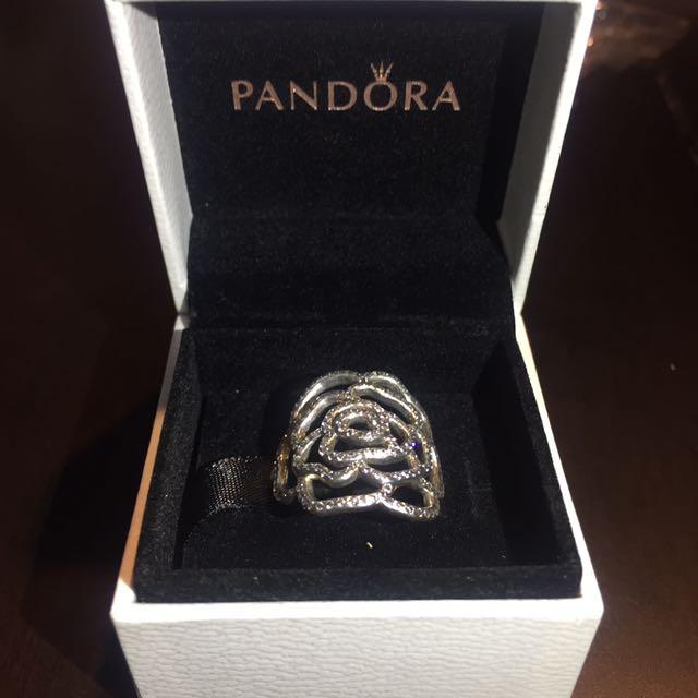 Authentic Pandora Flower Ring Size 58