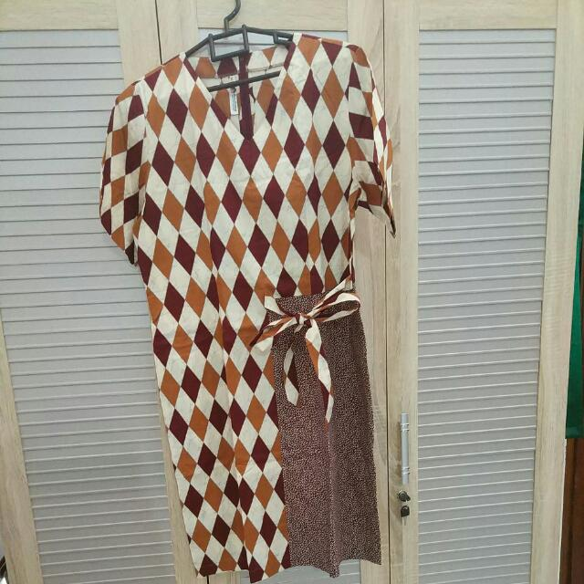Batik Keris Dress Brown Size XL