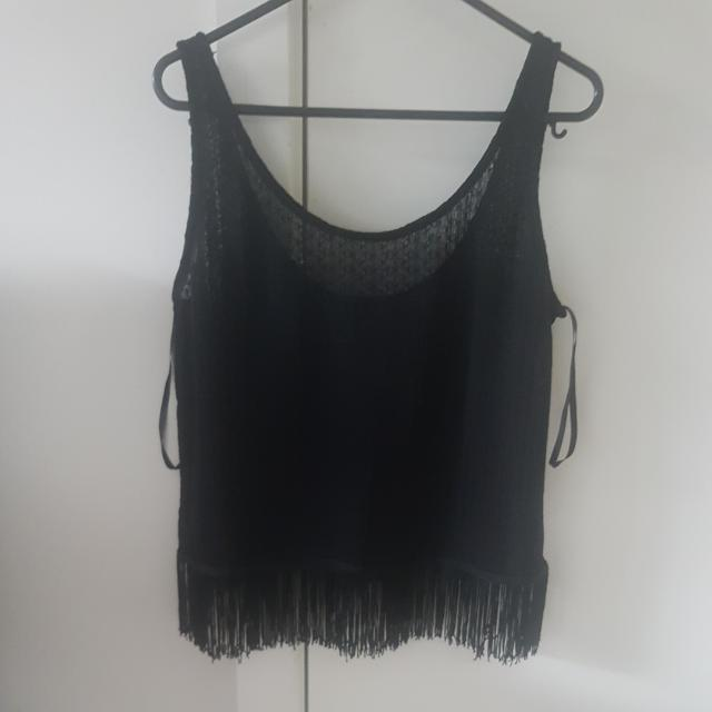 BLACK SEE THROUGH FESTIVAL TOP WITH TASSELS