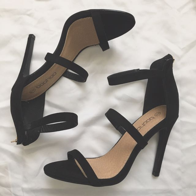 Black Suede Three Part Heels