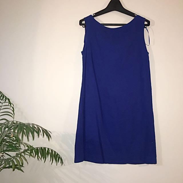 Blue Flannel Basic Dress