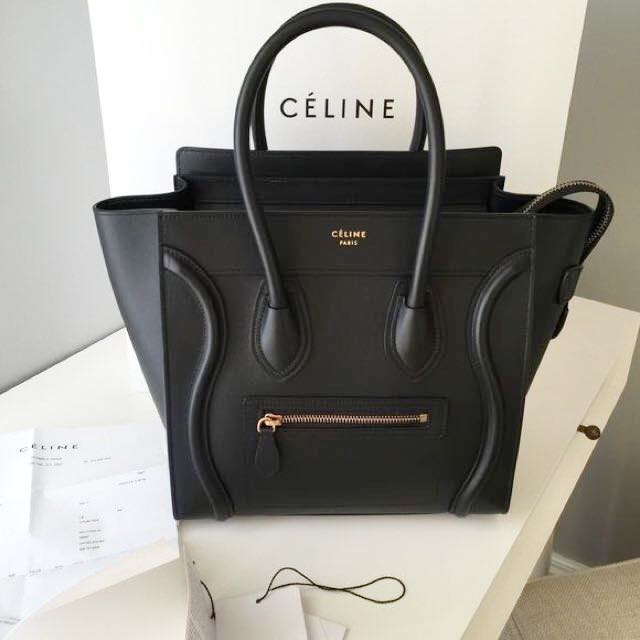 fe51a95aaa83 BRAND NEW CÉLINE MINI LUGGAGE BAG IN BLACK SMOOTH LEATHER