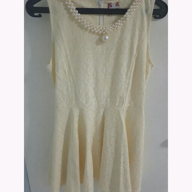CAMMOMILE Yellow Lace Dress