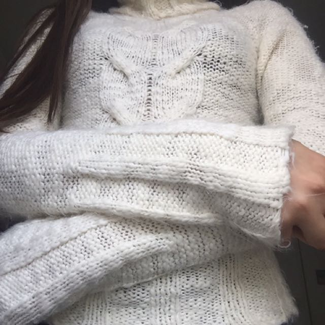 Creme Knitted Turtle Neck Sweater