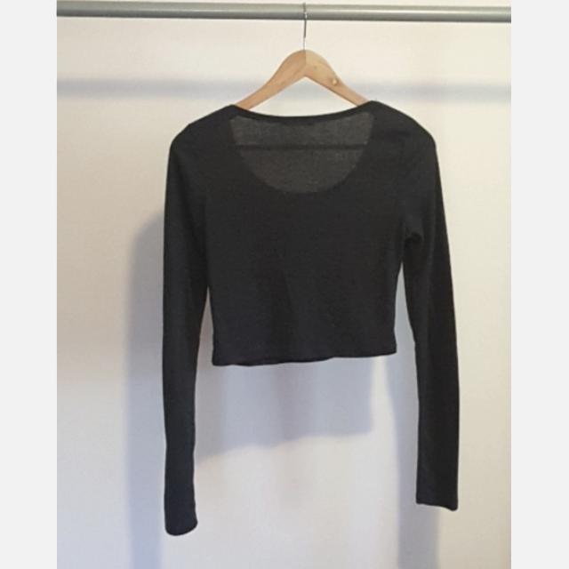 Dark Grey Long Sleeve Crop Top