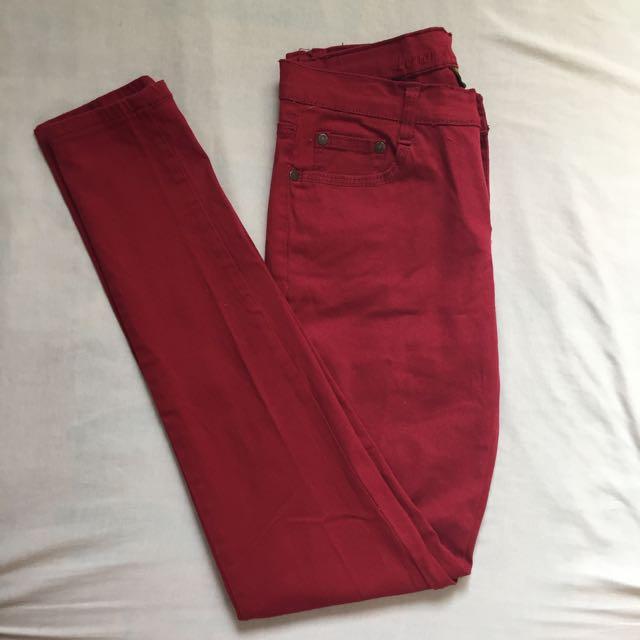 Dark Red Skinny Jeans