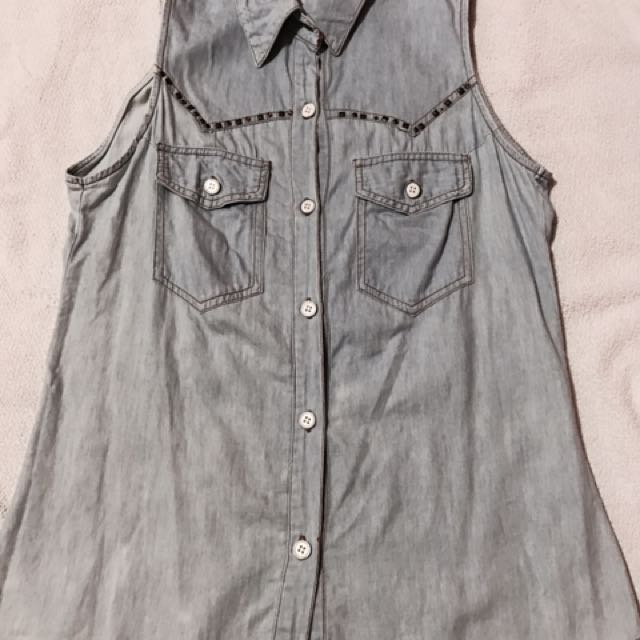 Denim Studded Top