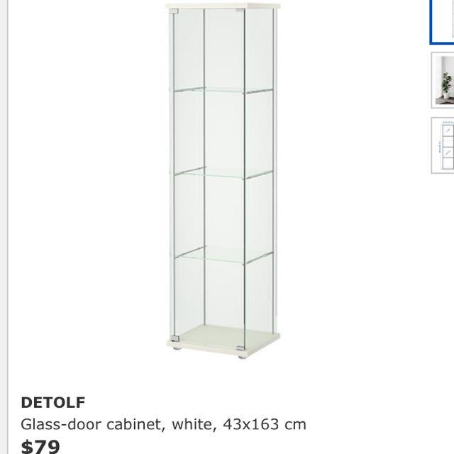 Display Case Glass Door Cabinet Ikea Detolf White Furniture