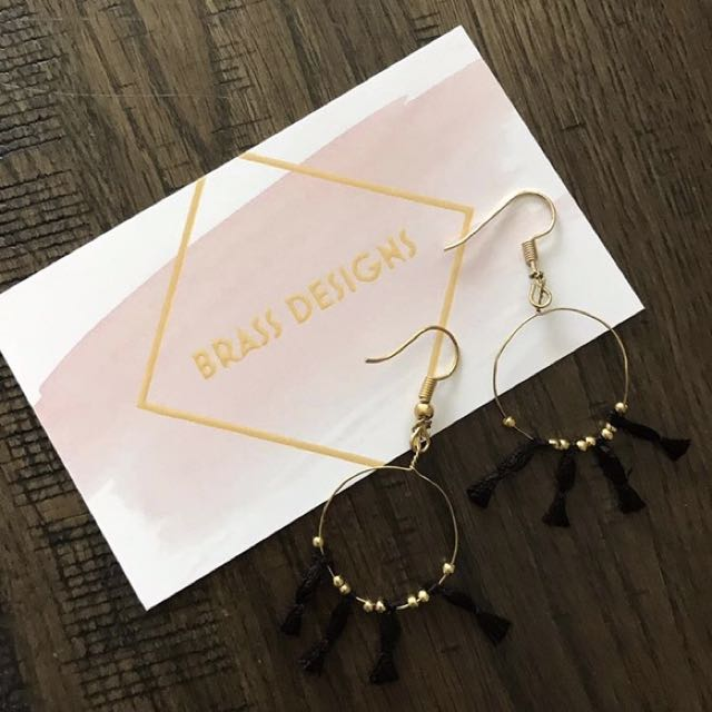 Gold&Black Earrings Made By Me