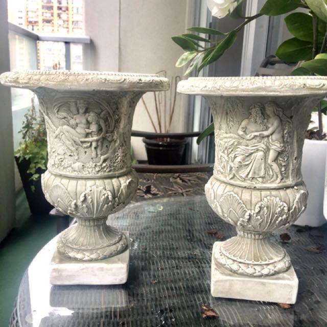 Greek Flower Or Decor Urns/ Vases