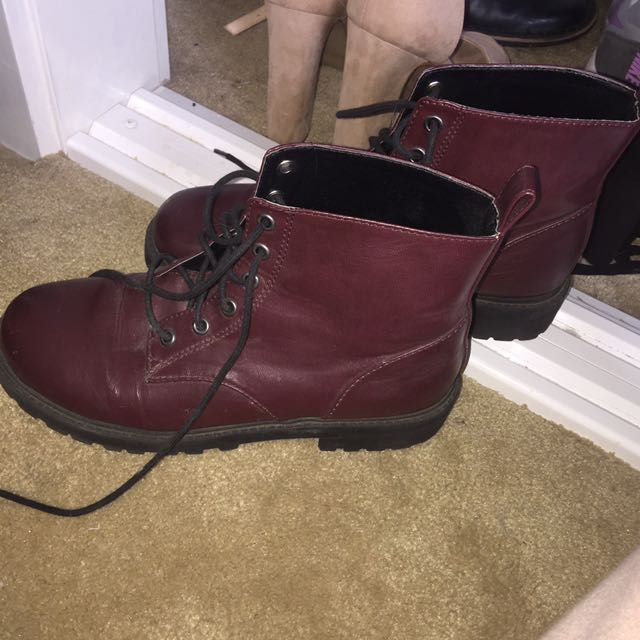 H&M maroon knock off doc martins