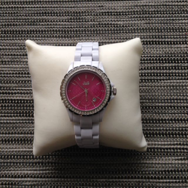 JAG Watch - White Band With Pink Face