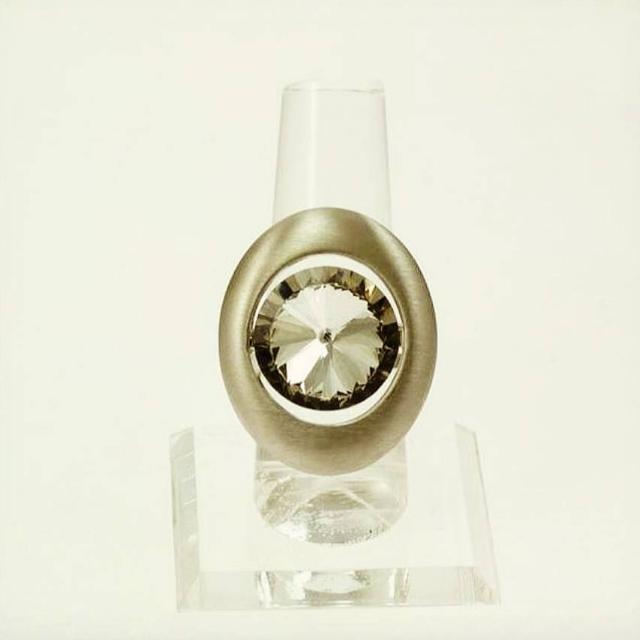 Ladies Statement Piece Silver And Crystal Adjustable Ring