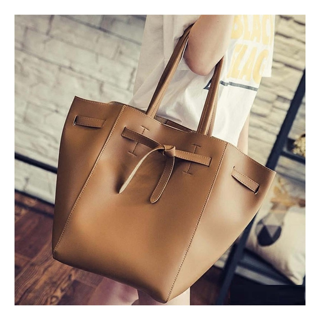 Large Tote Bag with Bow and matching pouch / Shoulder Bag / Minimalist / Brown Bag