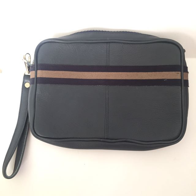 Leather Mens Clutch Pouch Bag