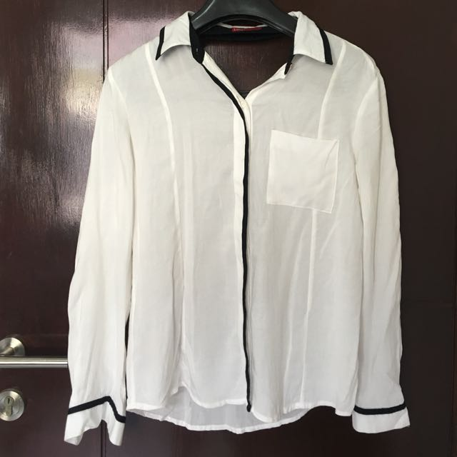 LOGO White Shirt With Black Line Detail