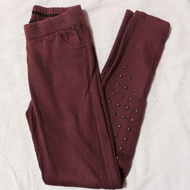 Maroon Studded Jeggings