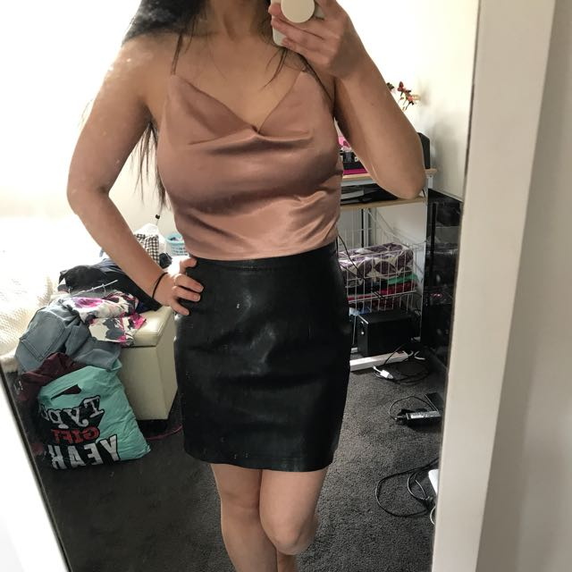Meshki Silk Top and Black Leather Skirt
