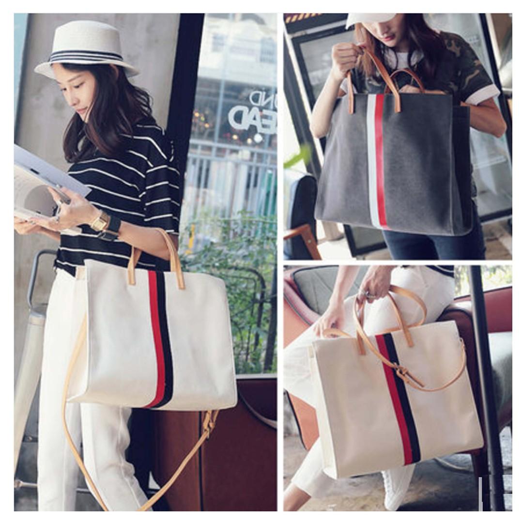 Minimalist Large Canvas Tote Bag with contrasting Leather Handle and Strap / Shoulder Bag / Sling Bag