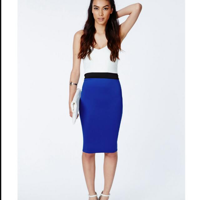 MISSGUIDED COLOR BLOCK BODYCON DRESS