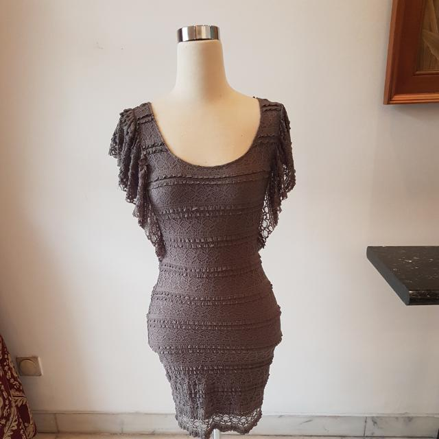 ORIGINAL HNM HM DIVIDED DRESS BROWN SIZE 36 ( SMALL )