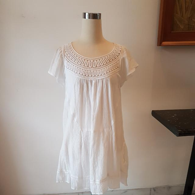 ORIGINAL ZARA TRF TRAFALUC WHITE LACE DETAIL DRESS SIZE S