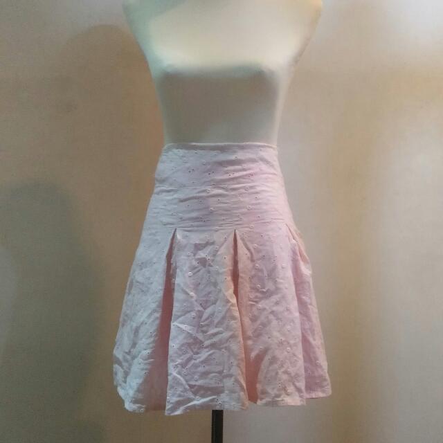Pink Eyelet Pleater Skirt